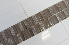 Sparkle Taupe Mosaic and 4x12 Snow White Glass Tiles  $15.99/Sq Ft