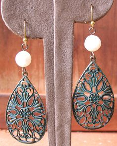 Elegant Drop Earrings Made with a Patina Finish Dangle and Fresh Water Pearl