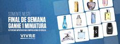 Festival de pequenos frascos!  Na compra de qualquer perfume da nossa loja virtual, você recebe de presente uma miniatura de perfume importado!    Aproveite, é válido apenas para este final de semana - 02 e 03 de março: http://www.vivreshop.com.br/?Menu=PaginaInicial=pinterestazclick