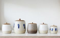'Donguri (meaning 'acorn') is the name given to these sweet handcrafted ceramic vessels with timber lids by Asuka Mew & Anna Miller-Yeaman of Wingnut & Co. Photo – Eve Wilson for The Design Files.