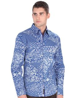 34934 Camisa Vaquera Caballero El General, 100% Cotton - Blue