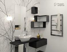 Mała łazienka z wzorzystą tapetą Glamora - biało czarna we wzory. Czarne szafki półki narożne, umywalka nablatowa, złote dodatki, czarne płytki Tubądzin 1m, czarny grzejnik łazienkowy Radox, lampy przy lustrze łazienkowym Ikea. Projekt wnetrze relizacja Malaga, Double Vanity, Ikea, Mirror, Bathroom, House, Furniture, Home Decor, Washroom