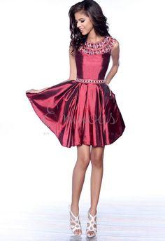 Karishma Creations satin party dress with beaded scoop neck and beaded belt. #KarishmaCreations