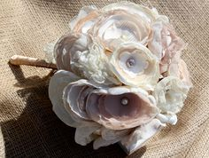 so cool ... bouquets made with satin, organza, chiffon, tulle and crepe