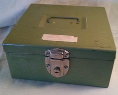 Vintage Metal Box, Vintage Box, Vintage Storage, Industrial Decor, Home Decor, Storage, Metal Box, cash box, lock Box, Green Decor by Vintagepetalpushers on Etsy