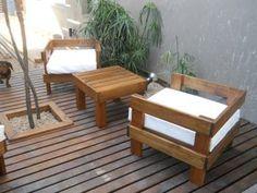 Mobiliario exterior sofa de jardín Recycled Furniture, Pallet Furniture, Outdoor Furniture Sets, Furniture Design, Patchwork Sofa, Outdoor Seating, Outdoor Tables, Outdoor Decor, Diy Patio