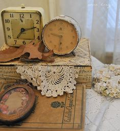 Vintage Clocks, Lace & Books Vignette