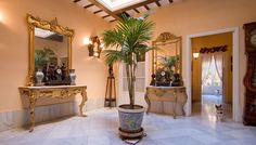 Spectacular typical Sevillian nineteenth century house for Sale. High ceilings and wood provide a warm and welcoming atmosphere, complemented by its large courtyard and the pool area on the terrace. Luxury Estate, High Ceilings, Seville, Old Town, Terrace, Entryway Tables, Warm, House, Home Decor
