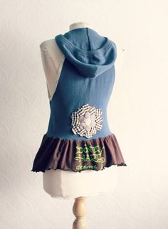 Upcycled Clothing Hooded Vest Women's Blue by BrokenGhostClothing