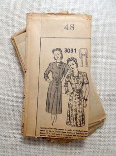 Vintage Pattern Mail Order Clotilde 2967 1940s cap sleeve yoked dress Bust 48 1940s pre war era farm housewife plus size pockets house dress