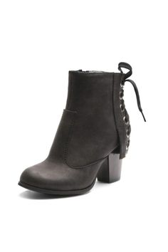 Spice up your fashion taste this fall with these sexy and hip ankle boots. - Ankle styling - Lace-up back shaft - Block heel - Manmade upper & lining - Foam midsole - Rubber outsole - Round toe - Zipper closure -    Padded foot bed - 3-in. heel - 7-in. shaft - 10-in. circumference   Scamp by Two Lips. Shoes - Booties - Heeled New York