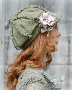 Shabby Chic Newsboy Hat in Moss Green with Pink Silk Rose by Jaya Lee