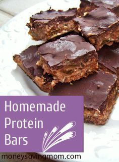 Homemade Protein Bars -- the best recipe I've ever tried! So much cheaper than paying for pre-made bars!