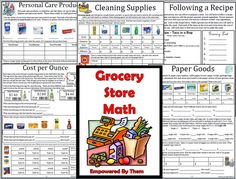 Grocery Store Math - 16 unique lessons (canned goods, baking, breakfast, generic vs name brands, personal care, pets, cleaning products etc) grocery budgets