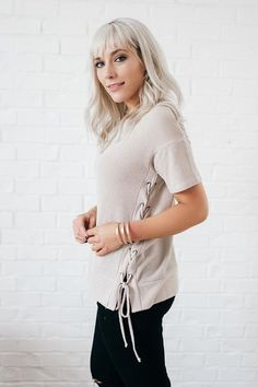Brittany Taupe Side Lace Up Tee