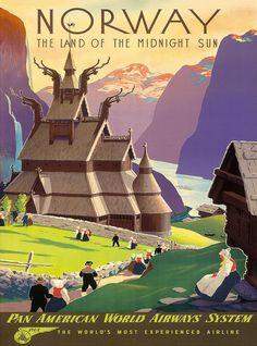 NORWAY: Norwegian travel poster
