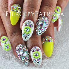 Bejeweled sparkle nails. Yellow nails. White nails. Just gorgeous nails.