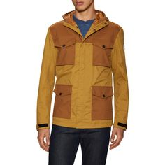 Timberland Men's DV Hooded Field Jacket - Beige/Khaki - Size M ($109) ❤ liked on Polyvore featuring men's fashion, men's clothing, men's outerwear, men's jackets, mens field jacket, mens khaki jacket outerwear, timberland mens jackets and mens khaki jacket