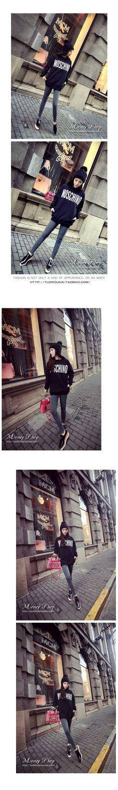 Veľkoobchod Product Snapshot Názov výrobku je Nový prírastok 2015 zimné zahusťovanie kartáčovaný tepelne vrecko stredne dlhé Harajuku sveter ženy mikina Dámske oblečenie