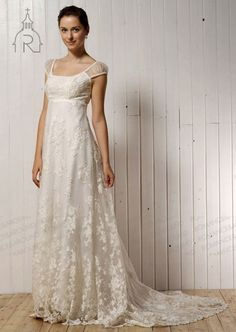 empire-wedding-dresses-cap-sleeve-semi-cathedral-train-lace-zhaosister-6020514-a