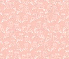 Owls - Pale Pink by Andrea Lauren fabric by andrea_lauren on Spoonflower - custom fabric