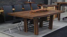 """Table tablier noyer massif 45 1/2"""" x 88"""" x 2 1/2"""" sur deux pieds central en arche à tubulure aluminium peint,"""