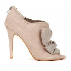 """CAROLINE  bow detail heel  Peep toe shoetie with back zip closure and bow detail.  Material: Faux Suede  Heel Height: 4"""""""