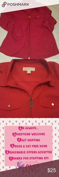 """Michael Kors zip-up camp style blouse Vibrant red color Small spot on the lower left that I'm 99% positive is just a water mark from my steamer. I couldn't get the spot to show up in a pic though. MK logo zipper  Long sleeve style or roll tab sleeves for 3/4 sleeves 100% polyester Light weight  Only worn twice  Metal zipper and accents are an """"antique"""" gold color MICHAEL Michael Kors Tops Blouses"""