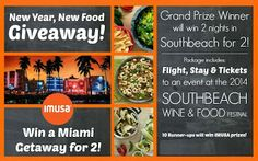 WIN a trip for 2 to Miami The grand prize winner will be announced on February 1st and will receive a trip for 2 to Miami from Saturday, February 22nd – Monday February 24th, inclusive of 2 coach flights, 2 night stay at Miami hotel (location TBD), 2 tickets to the GOYA Foods' Swine & Wine SOBE WFF event on Sunday, February 23rd, and car service to-and-from hotel to the SOBE WFF event. The 10 runner up winners to win IMUSA kitchen gear!