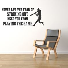 Fear Of Striking Out Wall Sports Room Quote by WallStickersDecals, $15.99