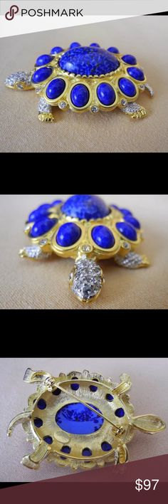 """Kenneth Jay Lane Vintage Lapis Crystal Turtle Pin From 1970-1980's this couture collection turtle is in extraordinary condition. Created with diamanté crystals, lapis cabcochons, and rich gold gilded setting (22k gold-plating), he would satisfy even that person with highest standards on your gift list! Measures approximately 2.5"""" x 1.75"""" Though I haven't owned him for his entire life, truly can't tell that he's been worn. Mint condition!! I've used the listing price on 1st Dibs as original…"""