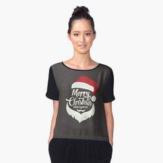 Christmas creative Santa Face Products Women's Chiffon Top Front