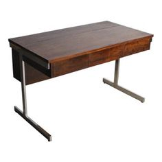 1970s Mid-Century Modern Rosewood Chrome Desk Dining Working Table | Chairish