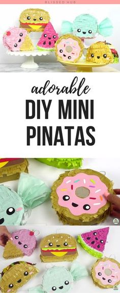 ADORABLE DIY MINI PINATAS -diy, diy projects, diy crafts, diy ideas, fun crafts, cute diys, mini pinatas, adorable, party decoration, party ideas - I CAN'T BELIEVE HOW CUTE AND EASY THESE ARE TO MAKE! SO EXCITED TO MAKE THESE FOR MY NEXT BIRTHDAY!