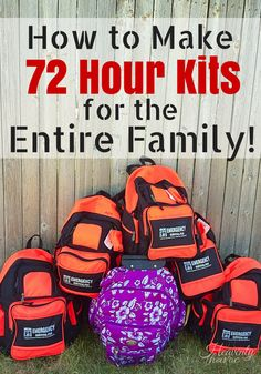 Emergency three day packs - Wanna sleep a little better at night? NOW is the time to get your family prepared! Making 72 hour kits for the whole family was not as hard as I thought it would be! 72 Hour Emergency Kit, 72 Hour Kits, Emergency Preparedness Kit, Emergency Preparation, Emergency Supplies, In Case Of Emergency, Survival Prepping, Survival Skills, Survival Supplies