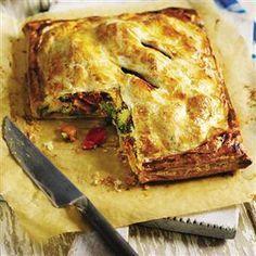 Roast vegetable and houmous pie recipe by Angela Boggiano.