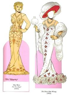 Mae West paper dolls . . . . paste to foam board . . . cut off tabs . . . to create a May West photo opp.