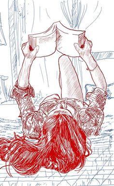 Reading in Bed, Leyando en la cama illustration Book Drawing, Drawing Sketches, Art Drawings, Girl Reading Book, Reading Art, Woman Reading, Reading Books, Art Et Illustration, Illustrations