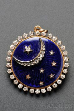 Antique Gold, Enamel, and Diamond Pendant/Brooch, Jaques & Marcus