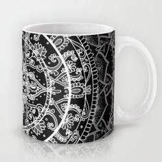 Detailed Black and White Mandala Pattern Mug
