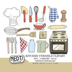 15 Kitchen Utensils Sketch : Kitchen Utensils Clip Art Set, PNG, Commercial and Personal Use ...