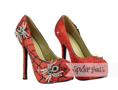 Crystal Spider Heels w Spider Brooches Halloween by TheShoeAffair, $199.00