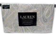 RALPH LAUREN Pastel Colonial Paisley DUVET COVER 3pc Set Blue Green Grey Ivory #RalphLauren #Cottage