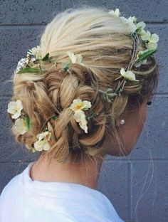 flowers and crown braid hairstyle