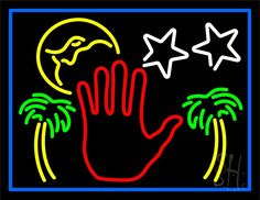neon psychic sign | Red Palm Logo Psychic Blue Border Neon Sign | Psychic Neon…