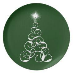 White Christmas Tree Art Party Plates