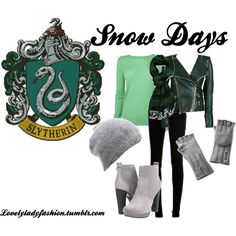 """""""Slytherin Snow Days"""" by nearlysamantha on Polyvore"""
