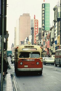 A TTC bus on Yonge Street in Toronto, Ontario, Retro Bus, Yonge Street, Toronto Ontario Canada, Toronto Travel, Photo Vintage, Canadian History, Bus Coach, Photos, Pictures