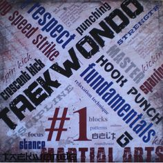 Taekwondo scrapbook paper for colorful Tae Kwon Do scrapbooking page layouts.