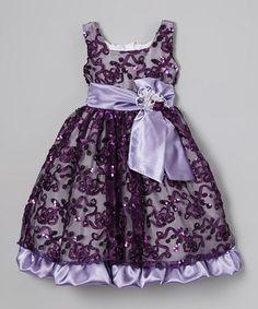 Plum Sequin Bow Babydoll Dress - Infant, Toddler & Girls #zulily #zulilyfinds